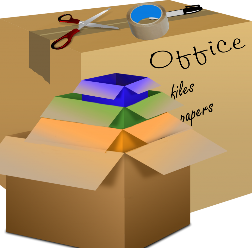 A box with scissors and tape labeled 'Office', next to a pile of differently colored boxes.