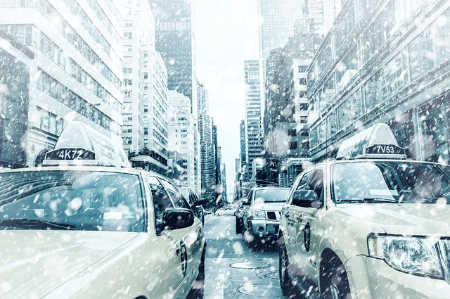 Taxi Vehicles on a Snowy Road in NYC