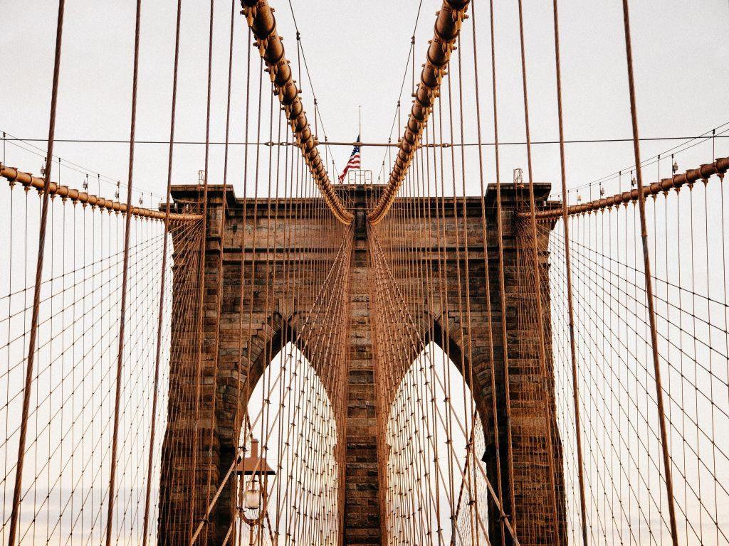 A view of the upper part of the Brooklyn Bridge.