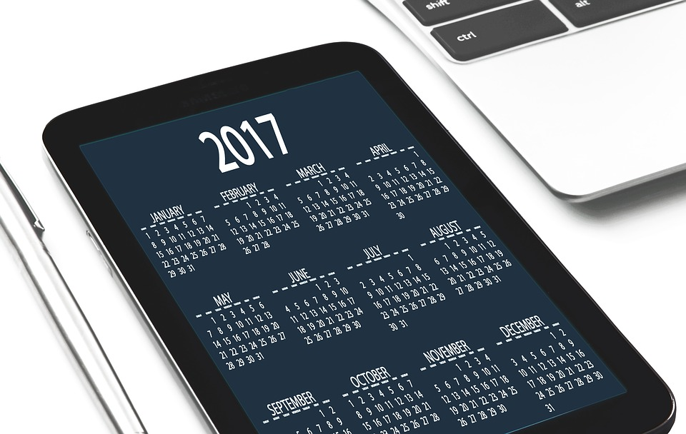 2017 calendar on a tablet.