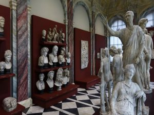 Statues and busts in an exhibit, as an example of what art exhibit movers NYC relocate.