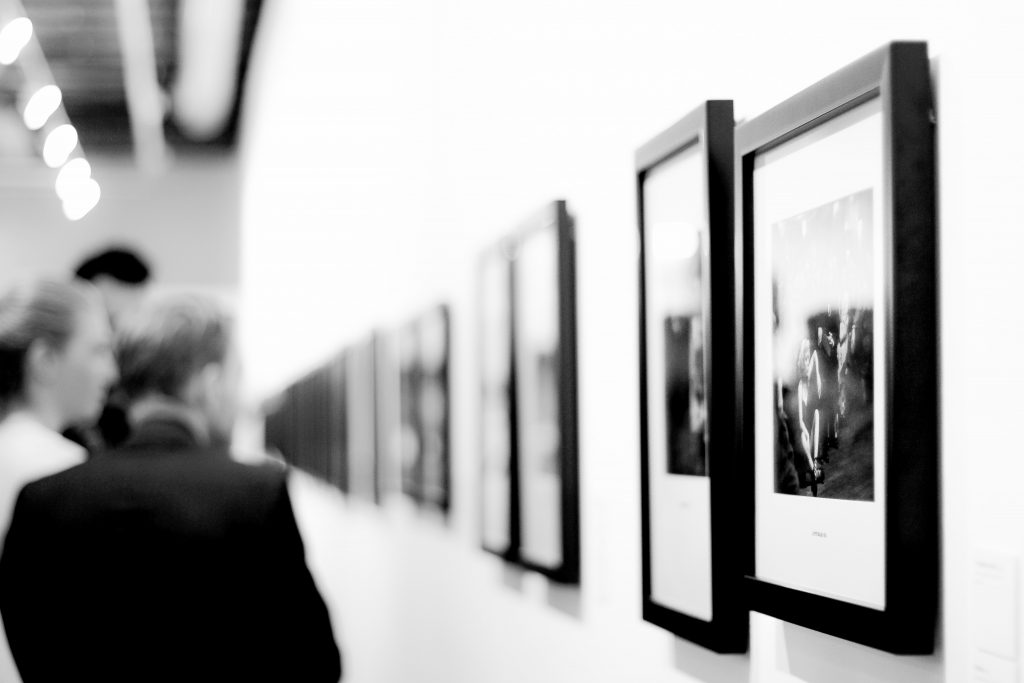 Black and white photography exhibition.