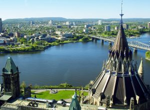 The view of Ottawa city on the banks of a river.