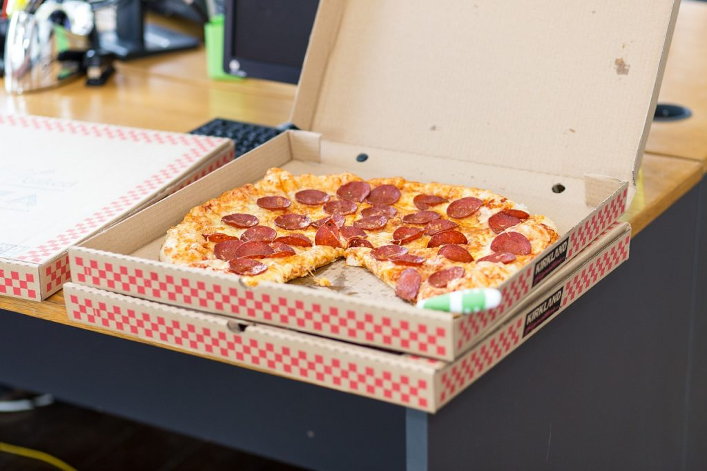 Fuel is important for successful unpacking - even if the fuel is pizza.
