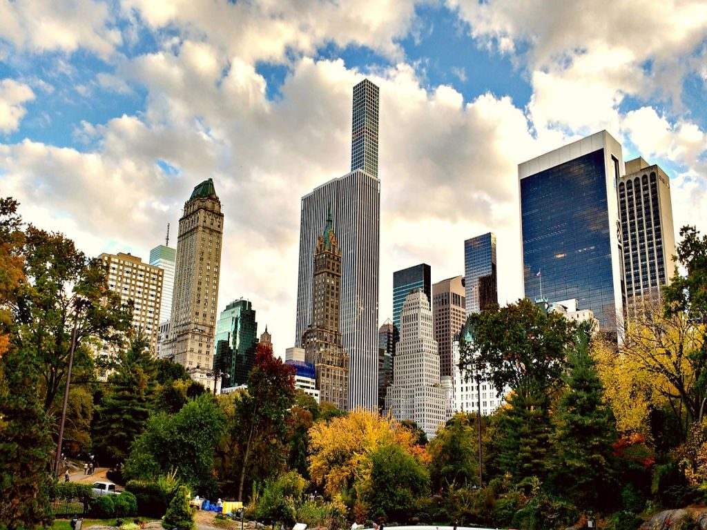 A view of Central Park and the surrounding skyscrapers.