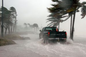 A jeep on a flooded road in Key West, Florida.