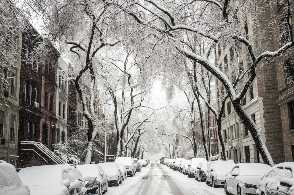 A snowy Brooklyn street.