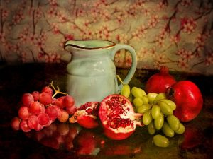 A still life painting of a white jug and some fruit.