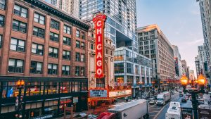 The famous Chicago Theater in downtown Chicago.