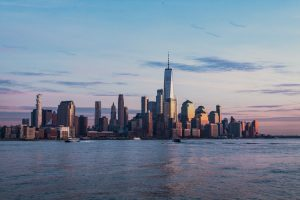 View of New York from the sea.