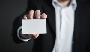 an empty business card in a hand
