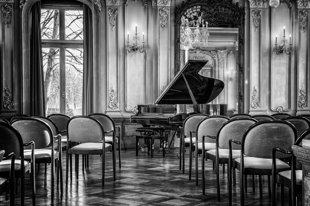 a piano in a large room