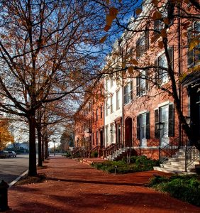 Brownstones are an iconic feature of this neighborhood.