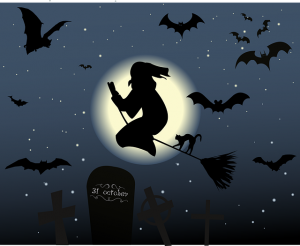 Organize a Halloween party - a witch on the broom
