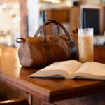 -a bag and a book on the table