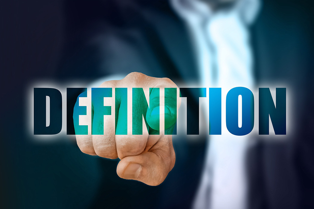 man pointing out on the word saying definition