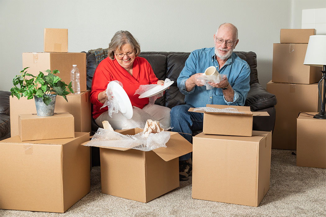 Senior citizens are packing for moving